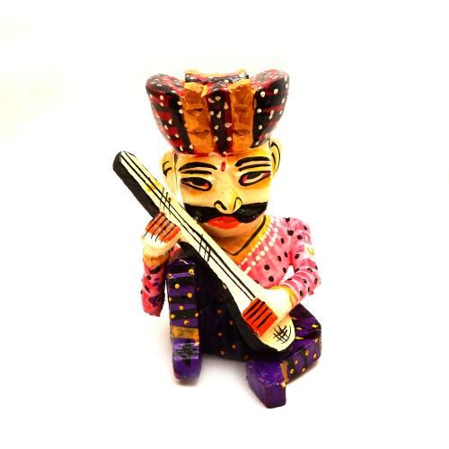 WOODEN PAINTED MUSICIAN