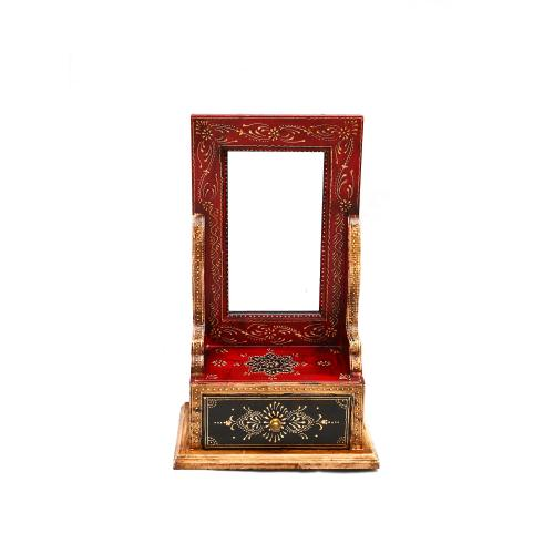 WOODEN PAINTED MIRROR WITH FRAME