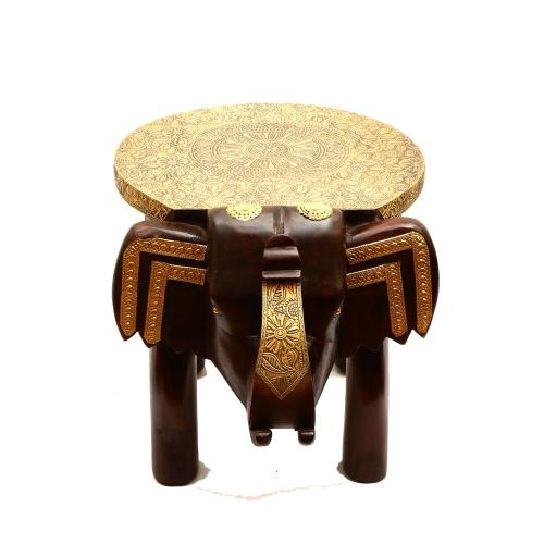 WOODEN ELEPHANT STOOL WITH BRASS WORK