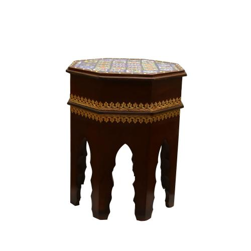 WOODEN PAINTED STOOL WITH TILE WORK