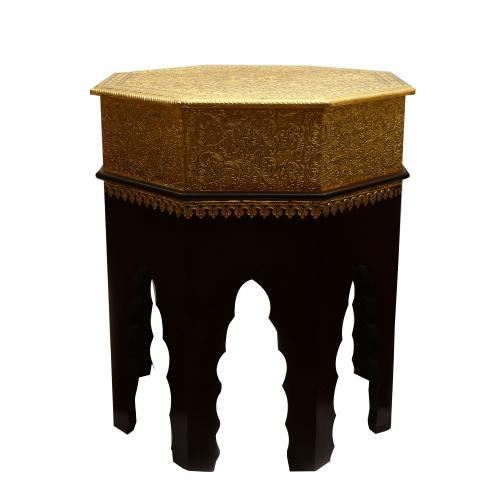 WOODEN PAINTED STOOL WITH BRASS WORK