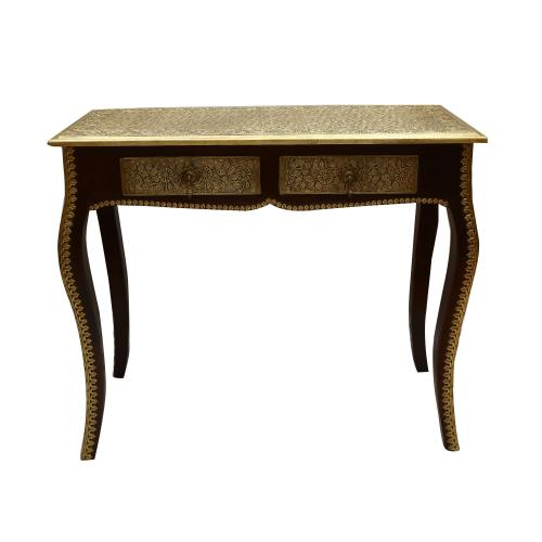 WOODEN TABLE WITH BRASS WORK