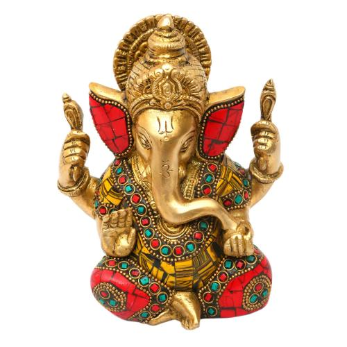 BRASS GANESHA CARVED SITTING WITH STONE WORK