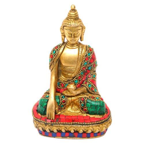 BRASS BUDDHA SAKYAMUNI STONE WORK