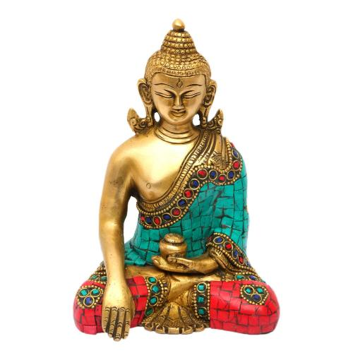 BRASS BUDDHA SITTING WITHOUT BASE STONE WORK