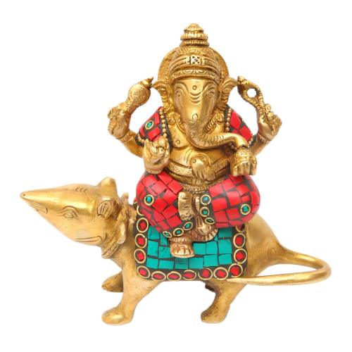 BRASS GANESHA SITTING WITH STONE WORK