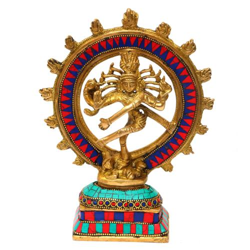 BRASS NATARAJA DANCING ON SQURE BASE
