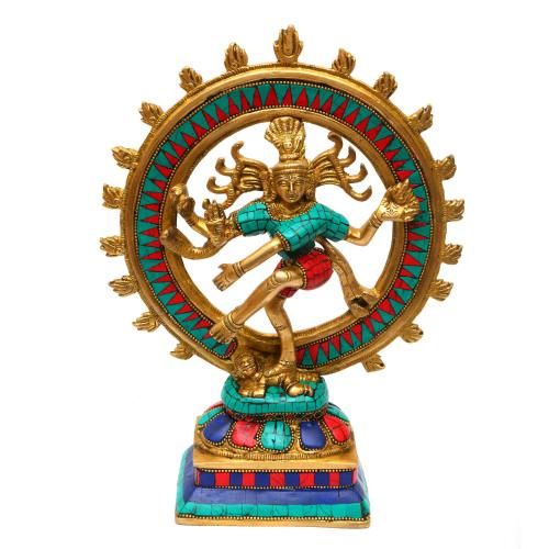 BRASS NATARAJA DANCING WITH PRABHAVALI STONE WORK
