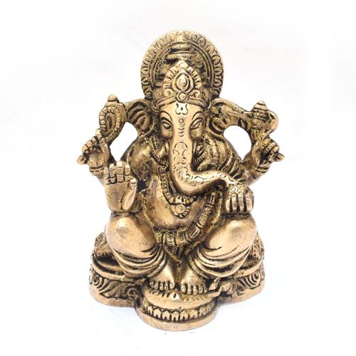 BRASS GANESHA 4 HAND SITTING ON BASE