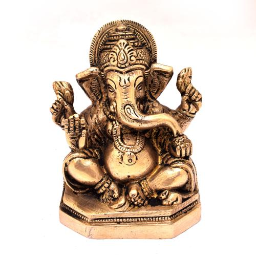 BRASS GANESHA SITTING ON BASE