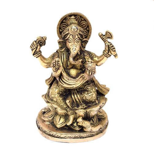 BRASS GANESHA SITTING ON LOTUS