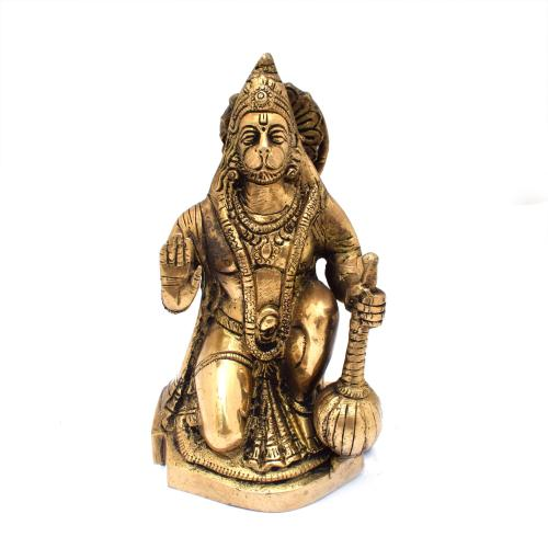 BRASS ABHAYA HANUMAN ON BASE