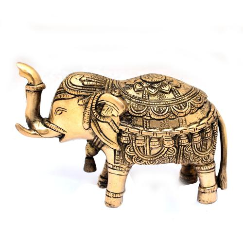 BRASS SCULPTURE ELEPHANT TRUNK UP