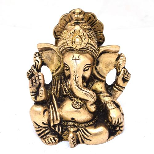 BRASS SCULPTURE GANESHA 4 HANDS  SITTING