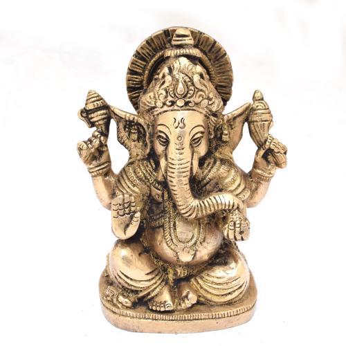 BRASS GANESHA 4 HAND SITTING ON DIWAN ON BASE