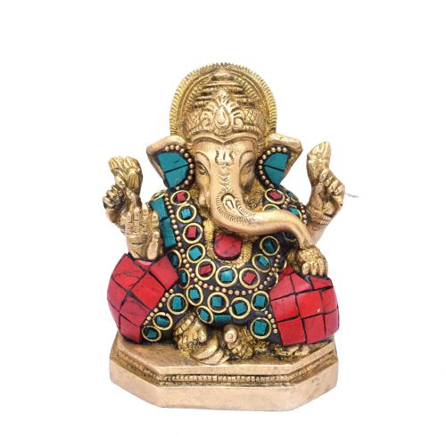 BRASS GANESHA SITTING WITH GEM STONE WORK