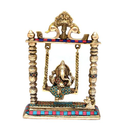 BRASS GANESHA JHULA WITH GEM STONE WORK