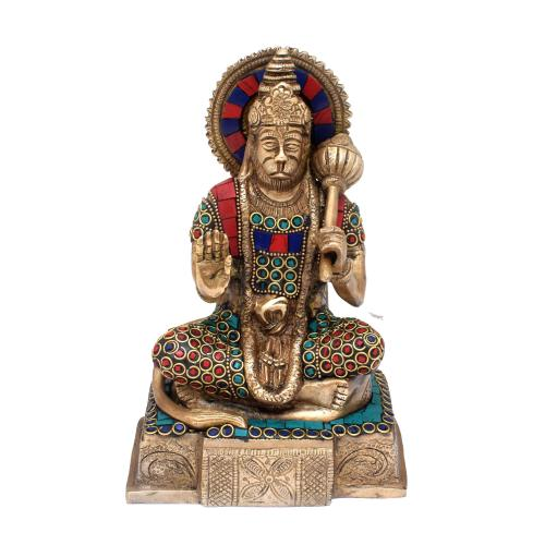 BRASS ABHAYA AHANUMAN SITTING ON SQURE BASE WITH GEM STONE WORK
