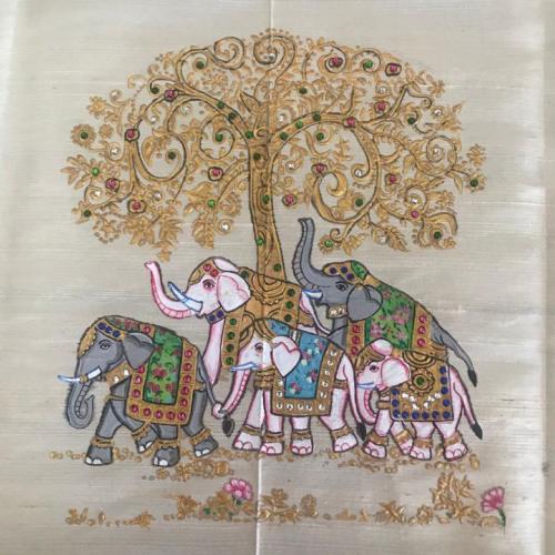 TANJORE PAINTING ELEPHANTS