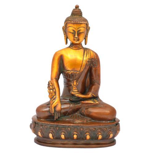 BRASS SCULPTURE BUDDHA MED SITTING AQ