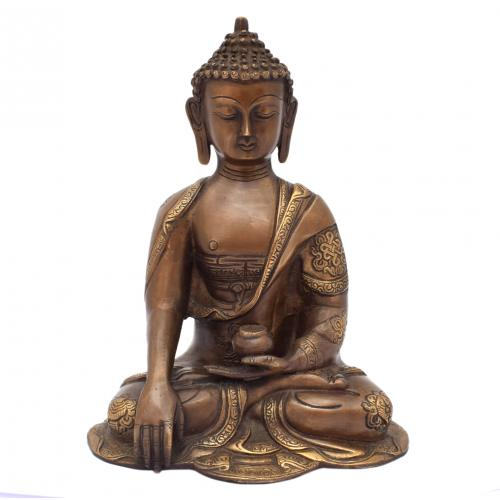BRASS BUDDHA SAKYAMUNI SITTING ON BASE AQ