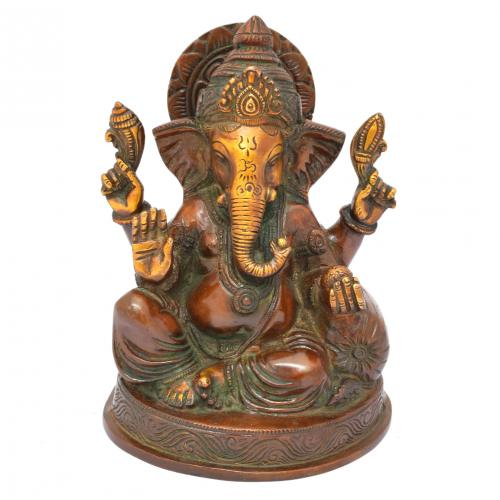 BRASS GANESHA SITTING WITH BASE AQ