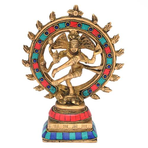 BRASS SCULPTURE NATARAJA DANCING WITH GEM STONE ON BASE