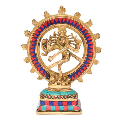 BRASS SCULPTURE NATARAJA DANCING WITH GEM STONE