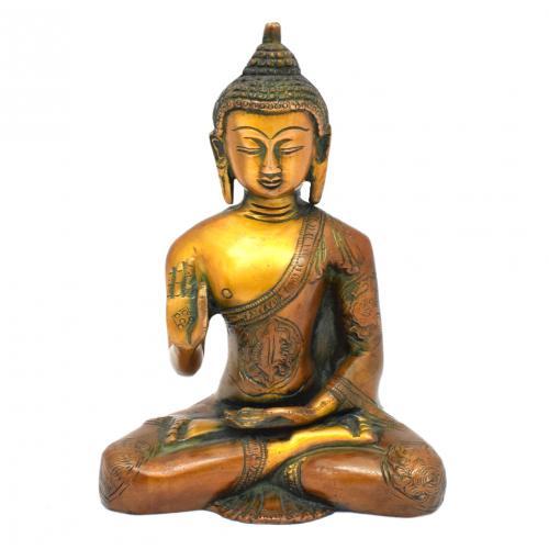 BRASS SCULPTURE BUDDHA SITTING AQ