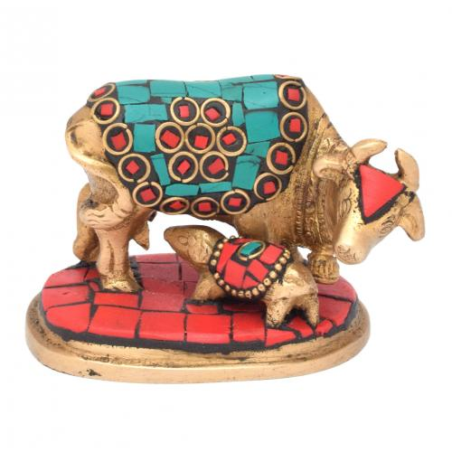 BRASS SCULPTURE COW AND CALF GEM STONE WORK  WITH BASE