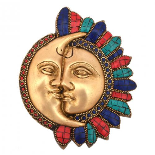 BRASS SUN MOON MASK WALL HANGING