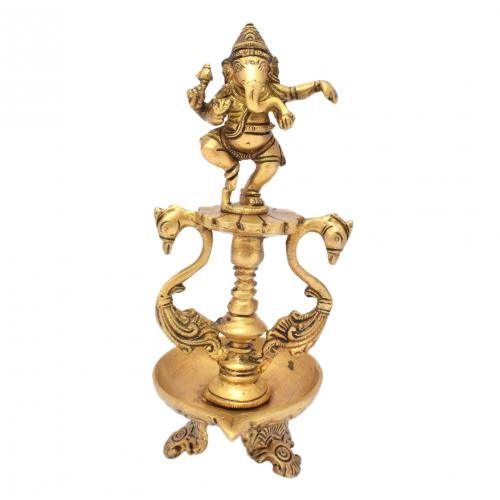 BRASS SCULPTURE GANESHA SWAN OIL LAMP