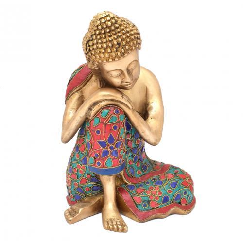 BRASS SCULPTURE BUDDHA SITTING WITH GEM STONE WORK