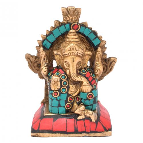 BRASS SCULPTURE GANESHA SITTING PRABHAVALI GEM STONE WORK
