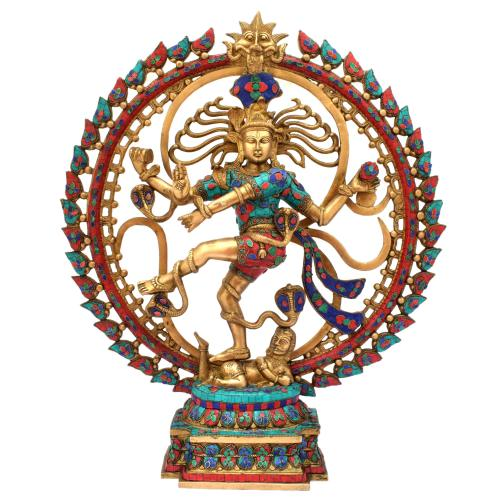 BRASS NATARAJ DANCING WITH GEM STONE WORK
