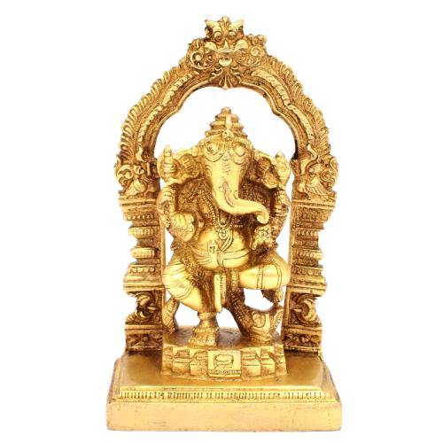 BRASS SCULPTURE GANESHA DANCING W PRABHAVALI ON BASE