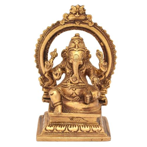 BRASS SCULPTURE GANESHA SITTING PRABHAVALI ON BASE