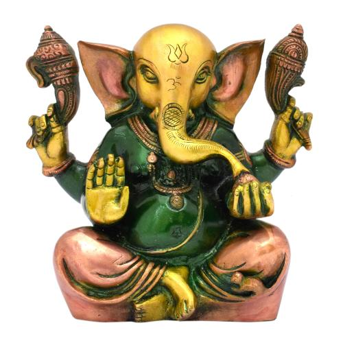 BRASS SCULPTURE APPU GANESHA SITTING