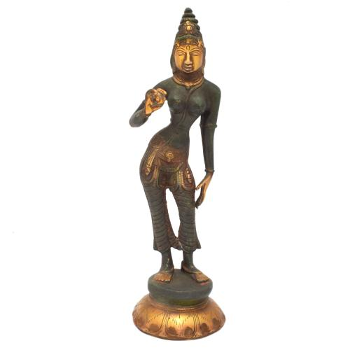 BRASS SCULPTURE PARVATHI STANDING ON BASE AQ