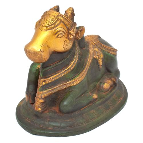 BRASS SCULPTURE NANDHI SITTING ON BASE