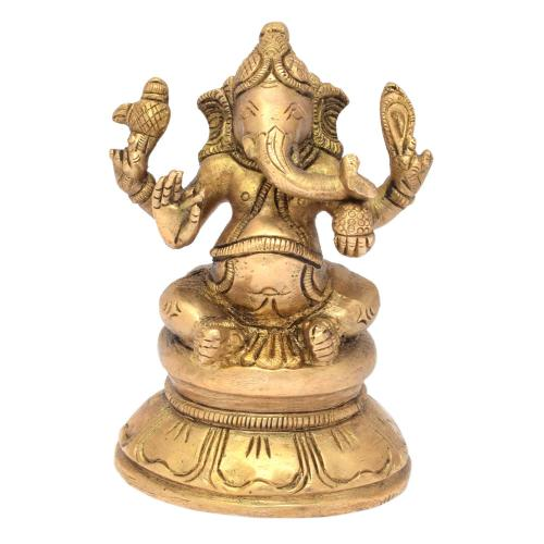 BRS SCULPTURE GANESHA SITTING ON ROUND BASE