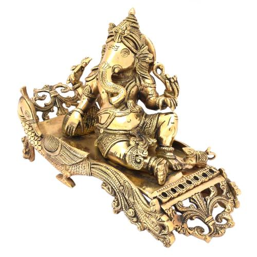 BRASS GANESHA LYING ON DIWAN