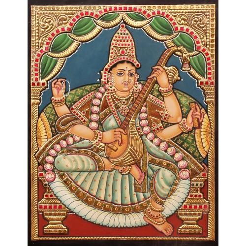 TANJORE PAINTING SARASWATHI ANTIQUE