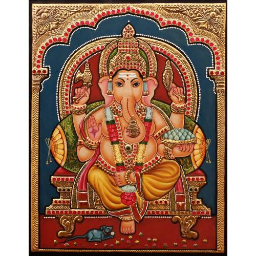 TANJORE PAINTING GANESHA ANTIQUE