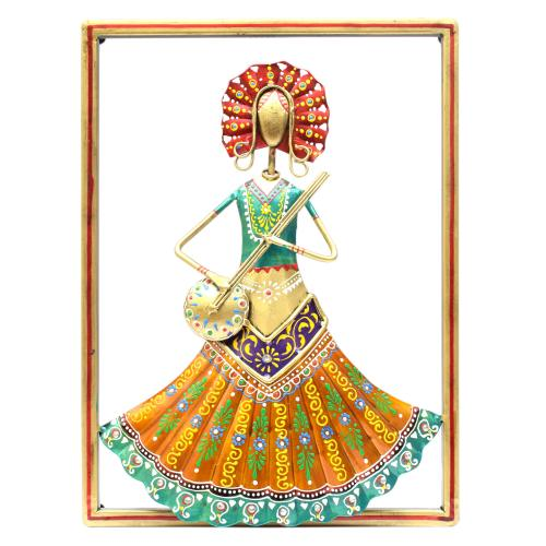 WROUGHT IRON SINGLE LADY PLAYING VEENA WALL HANGING FRAME