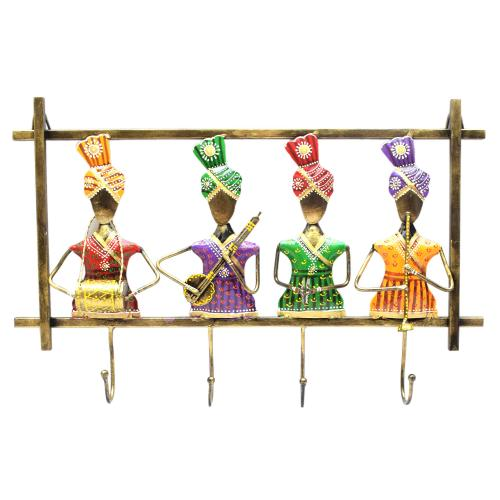 WROUGHT IRON SARDAAR PANEL WITH 4 KEYHOOK STAND
