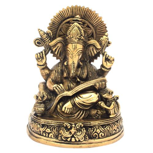 BRASS GANESHA READING BOOK SITTING ON BASE ANTIQUE