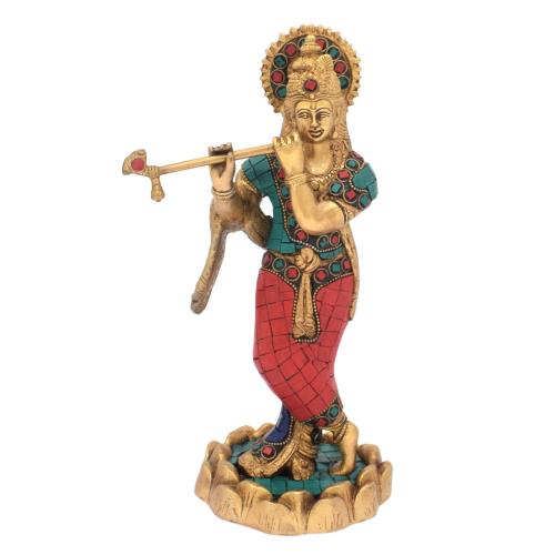 BRS KRISHNA STANDING ON LOTUS BASE WITH STONE WORK