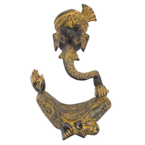 PAGARI GANESHA FACE FLOATING BRASS IDOL ANTIQUE FINISH