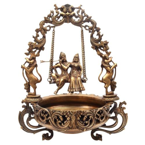 BRASS SWING RADHA KRISHNA URLI ANTIQUE FINISH